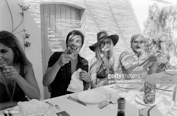 Alain Delon and Brigitte Bardot in 1968 in SaintTropez France