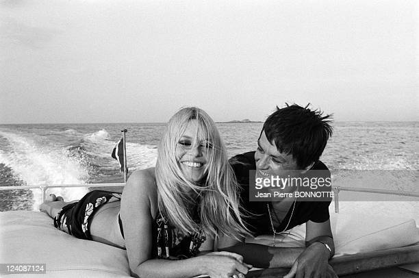 Alain Delon and Brigitte Bardot In Saint Tropez France In August 1968 Alain Delon and Brigitte Bardot