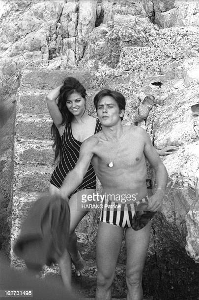 Alain Delon And Claudia Cardinale In Sicily For The Shooting Of The Film 'Le Guepard' By Visconti Luchino En marge du tournage du film 'Le GUEPARD'...
