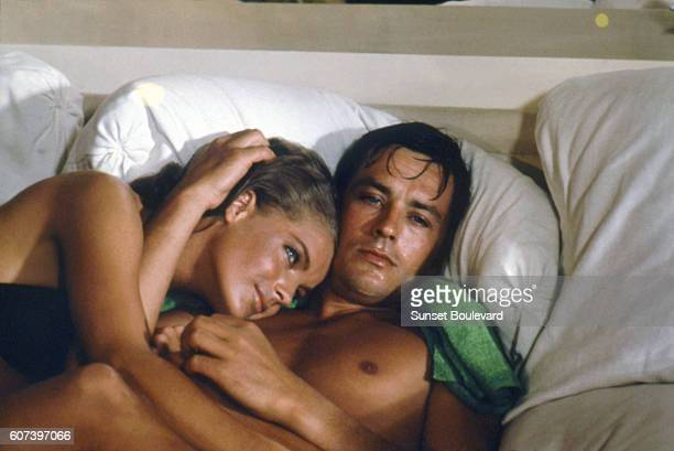 Alain Delon and Romy Schneider on the set of 'La Piscine'