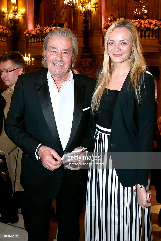 <a gi-track='captionPersonalityLinkClicked' href=/galleries/search?phrase=Alain+Delon&family=editorial&specificpeople=228460 ng-click='$event.stopPropagation()'>Alain Delon</a> and Virginie Courtin Clarins attend Tricentenary of the French dance school, AROP Gala, at Opera Garnier on April 15, 2013 in Paris, France.