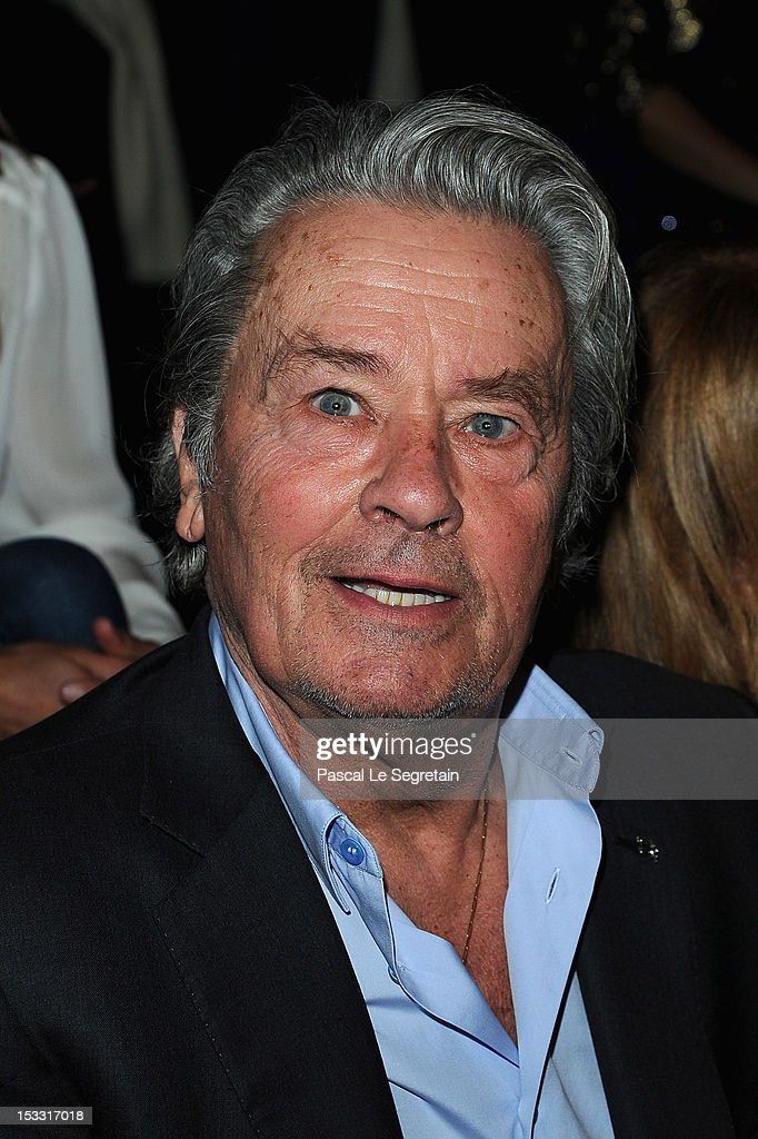 <a gi-track='captionPersonalityLinkClicked' href=/galleries/search?phrase=Alain+Delon&family=editorial&specificpeople=228460 ng-click='$event.stopPropagation()'>Alain Delon</a> attends the Elie Saab Spring/Summer 2013 show as part of Paris Fashion Week at Espace Ephemere Tuileries on October 3, 2012 in Paris, France.