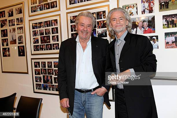 Alain Delon visits the Lambertz factory as a personal guest of Hermann Buehlbecker on July 15 2014 in Aachen Germany