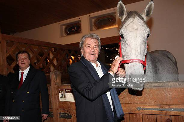 Alain Delon with horse during the Opening of the Gut Aiderbichl Christmas Market on November 11 2014 in Henndorf am Wallersee Austria