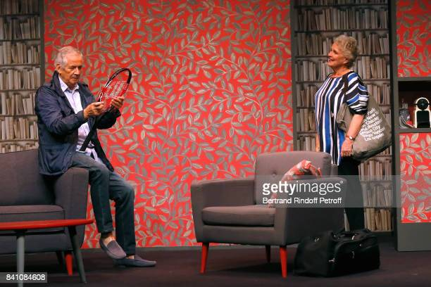 Alain Doutey and MarieChristine Barrault perform in 'Confidences' Press Theater Play at Theatre Rive Gauche on August 28 2017 in Paris France
