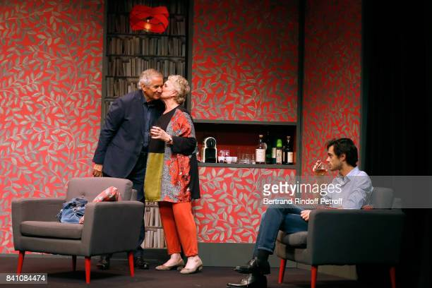 Alain Doutey MarieChristine Barrault and Arthur Fenwick perform in 'Confidences' Press Theater Play at Theatre Rive Gauche on August 28 2017 in Paris...