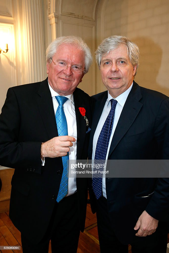 Alain Duault and Stephane Lissner attend as Alain Duault is honored with the Insignia of Officer of the Legion of Honor at Salle Gaveau on April 13, 2016 in Paris, France.