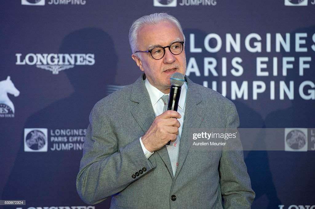 Alain Ducasse addresses the press during the 3rd Longines Paris Eiffel Jumping press conference on May 24, 2016 in Paris, France.