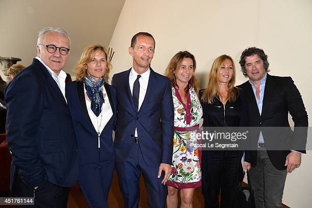 Alain Ducasse Virginie CouperieEiffel Robert Triefus Mathilde Seigner and Christophe Bonnat attend the Paris Eiffel Jumping presented by Gucci at...