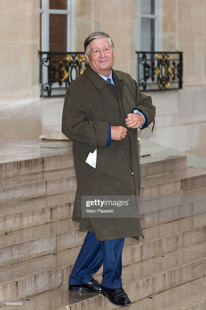 Alain Duhamel leaves the 'legion d'honneur' medal ceremony at Elysee Palace on September 17, 2013 in Paris, France.