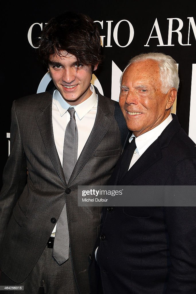 Alain Fabien Delon and <a gi-track='captionPersonalityLinkClicked' href=/galleries/search?phrase=Giorgio+Armani&family=editorial&specificpeople=4155761 ng-click='$event.stopPropagation()'>Giorgio Armani</a> attend the <a gi-track='captionPersonalityLinkClicked' href=/galleries/search?phrase=Giorgio+Armani&family=editorial&specificpeople=4155761 ng-click='$event.stopPropagation()'>Giorgio Armani</a> Prive show as part of Paris Fashion Week Haute Couture Spring/Summer 2014 on January 21, 2014 in Paris, France.
