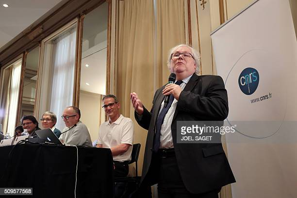 Alain Fuchs president of France's National Center for Scientific Research addresses guests of a press briefing of the CNRS on gravitational wave...