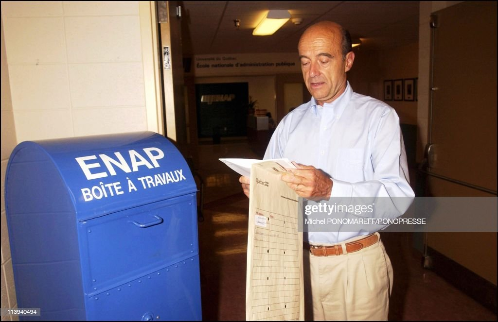 <a gi-track='captionPersonalityLinkClicked' href=/galleries/search?phrase=Alain+Juppe&family=editorial&specificpeople=235359 ng-click='$event.stopPropagation()'>Alain Juppe</a> in his office of ENAP in Montreal, Canada on September 07, 2005.