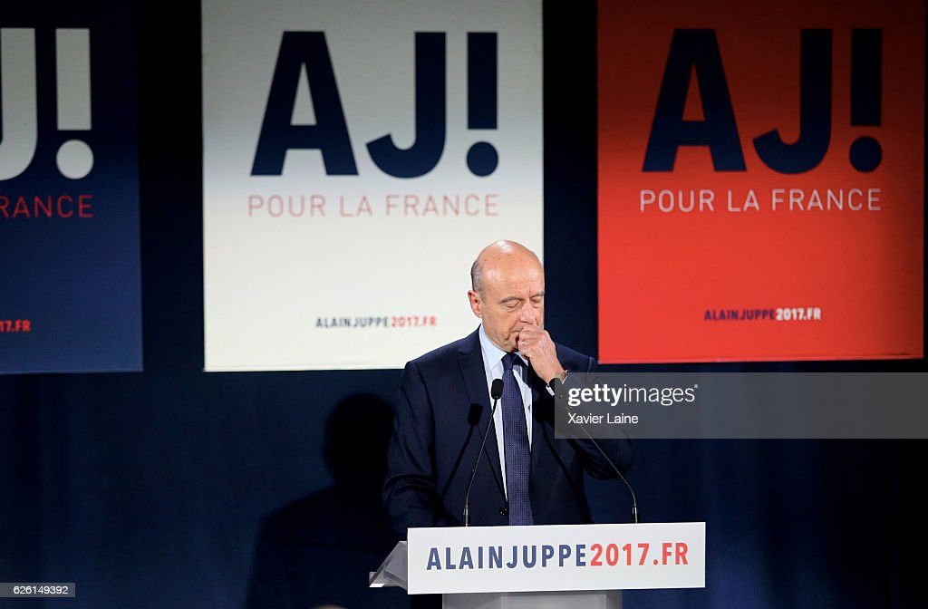 Alain Juppe looks disappointed as he speaks after his defeat after the Right-Wing primary elections ahead of 2017 Presidential elections, at his headquarters at the 15th arrondisement, on November 27, 2016 in Paris, France.