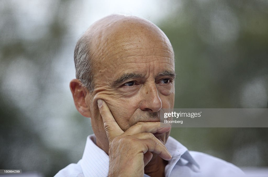 <a gi-track='captionPersonalityLinkClicked' href=/galleries/search?phrase=Alain+Juppe&family=editorial&specificpeople=235359 ng-click='$event.stopPropagation()'>Alain Juppe</a>, mayor of Bordeaux and former French prime minister, pauses during a plenary session of the Mouvement des Enterprises de France (Medef) conference at the Campus HEC in Jouy-en-Josas, France, on Wednesday, Aug. 29, 2012. Medef, the French business confederation's summer university near Paris, attracts 6,000 participant including political leaders, trade union representatives, executives, intellectuals and entrepreneurs and runs Wednesday, Aug. 29 through Friday, Aug. 31. Photographer: Balint Porneczi/Bloomberg via Getty Images