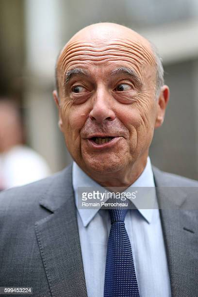 Alain Juppe Mayor of Bordeaux and Les Republicains presidential candidate hopeful speaks to the media after a press conference at Bordeaux metropole...