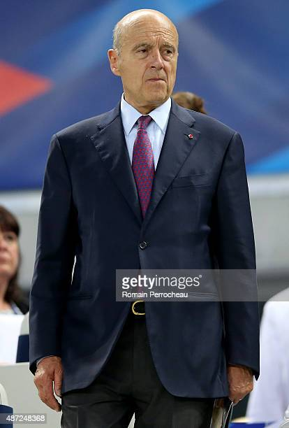 Alain Juppe Mayor of Bordeaux before International Friendly between France and Serbia on September 7 2015 in Bordeaux France