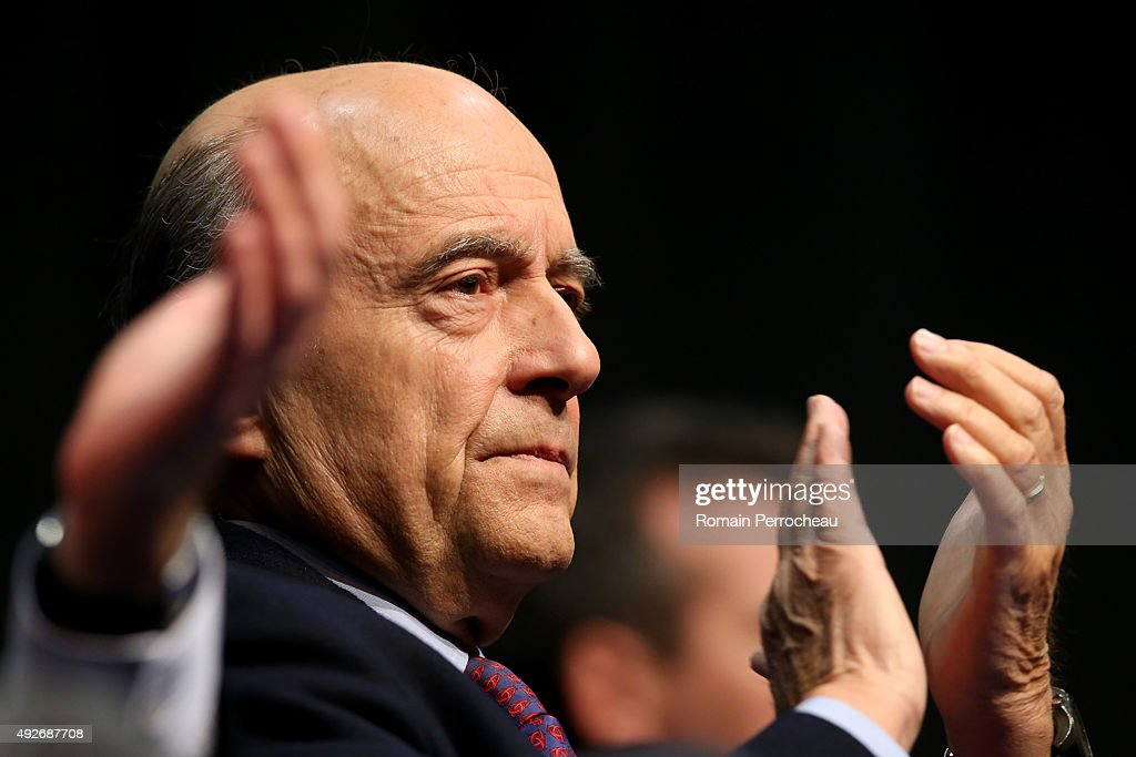 Alain Juppe mayor of Bordeaux during a campaign meeting of the 'Les Republicains' for the Regional Elections in Limousin on October 14 2015 in...