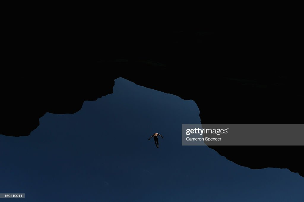 Alain Kohl of Luxemburg competes during the Red Bull Cliff Diving qualifying round in the Hawkesbury River on January 31, 2013 in Sydney, Australia.