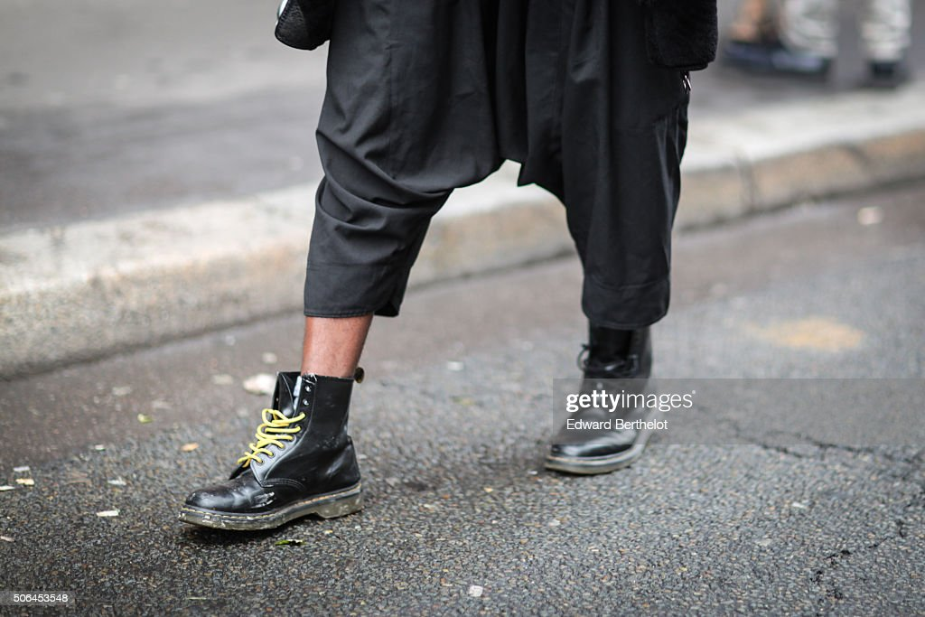 Alain Kvbrvl wearing Doc Martins shoes before the Songzio show during Paris Fashion Week Menswear Fall Winter 2016/2017 on January 23 2016 in Paris...