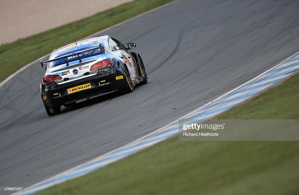 Alain Menu of Chrome Edition Restart Racing Volkswagen CC in action during the 2014 Dunlop MSA British Touring Car Championship media day at Donington Park on March 18, 2014 in Castle Donington, England.