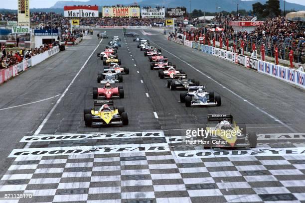 Alain Prost Eddie Cheever Ricardo Patrese René Arnoux Renault RE40 BrabhamBMW BT52 Ferrari 126C4 Grand Prix of France Circuit Paul Ricard 17 April...