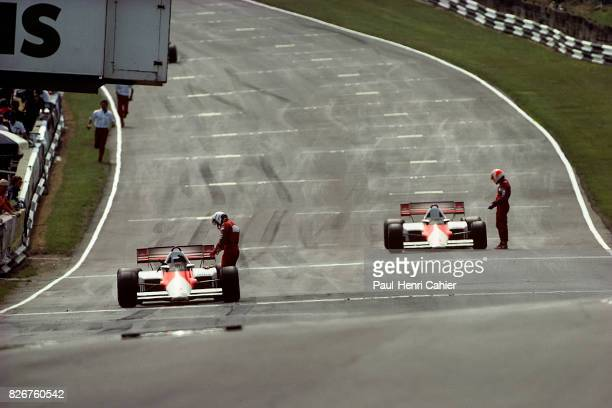 Alain Prost Niki Lauda McLarenFord MP4/2B Grand Prix of Great Britain Brands Hatch 22 July 1984 Alain Prost and Niki Lauda back on the starting grid...