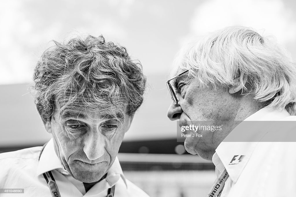 Alain Prost of France and Bernie Ecclestone of Great Britain ahead of the Austrian F1 Grand Prix at Red Bull Ring on June 22, 2014 in Spielberg, Austria.