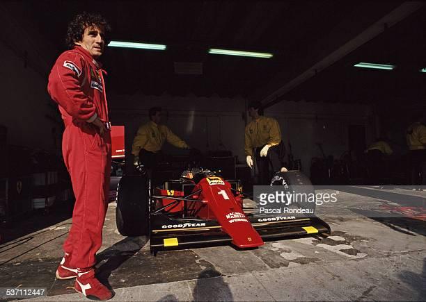 Alain Prost of France driver of the Scuderia Ferrari SpA Ferrari 641 Ferrari V12 during pre season testing on 10th February 1990 at the Autodromo do...