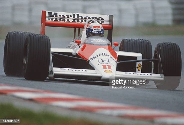 Alain Prost of France drives the Honda Marlboro McLaren McLaren MP4/4 Honda V6 during practice for the Belgian Grand Prix on 27th August 1988 at the...