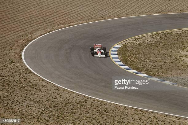 Alain Prost of France drives the Honda Marlboro McLaren McLaren MP4/5 Honda V10 during the Spanish Grand Prix on 1st October 1989 at the Circuit of...