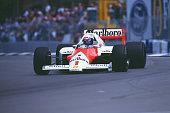 Alain Prost of France drives the Marlboro McLaren International McLaren MP4/2C TAG V8 turbo during the Australian Grand Prix at the Adelaide Street...