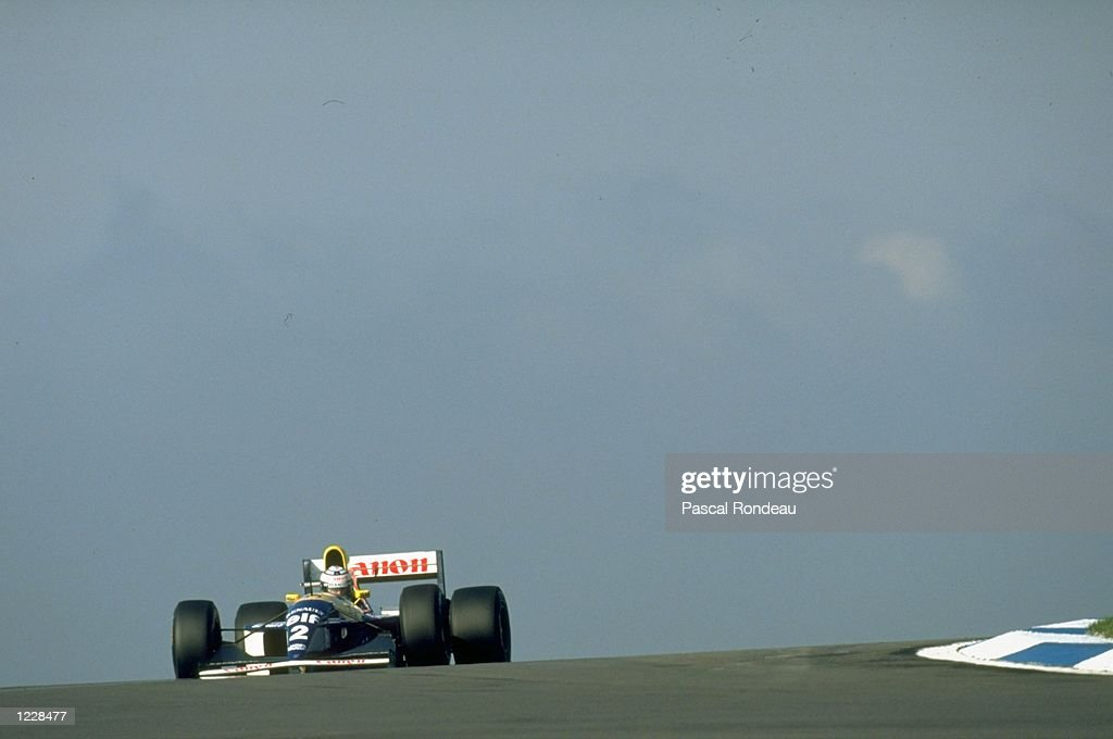 Alain Prost of France in action in his Williams Renualt during the European Grand Prix at the Donington Park circuit in Castle Donington England...