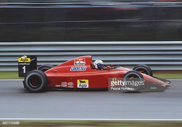 Alain Prost of France lights up the brakes as he drives the Scuderia Ferrari SpA Ferrari 641/2 Ferrari V12 team during the Canadian Grand Prix on...