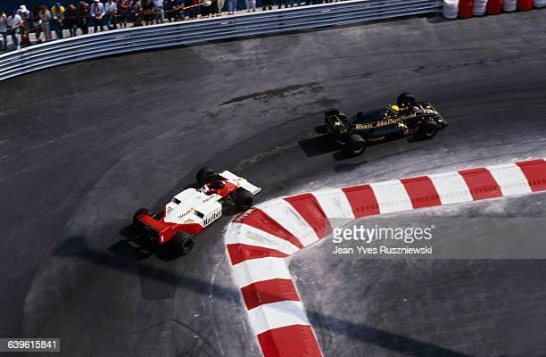 Alain Prost on McLaren and Ayrton Senna on Lotus at 1986 Monaco Grand Prix