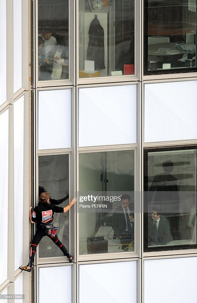 <a gi-track='captionPersonalityLinkClicked' href=/galleries/search?phrase=Alain+Robert+-+Climber&family=editorial&specificpeople=769748 ng-click='$event.stopPropagation()'>Alain Robert</a>, known as the French 'Spiderman' climbs the 'First' tower, the highest building in France on May 10, 2012 in Paris La Defense, Hauts de Seine, France.