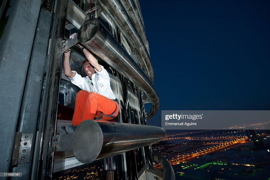 Alain robert known as the french 39 spiderman 39 climbs the highest buil - Alain robert burj khalifa ...