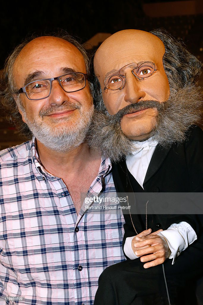 Alain Sachs and the puppet of Offenbach after 'Tout Offenbach ou presque !' show at 29th Ramatuelle Festival : Day 11 on August 10, 2013 in Ramatuelle, France.