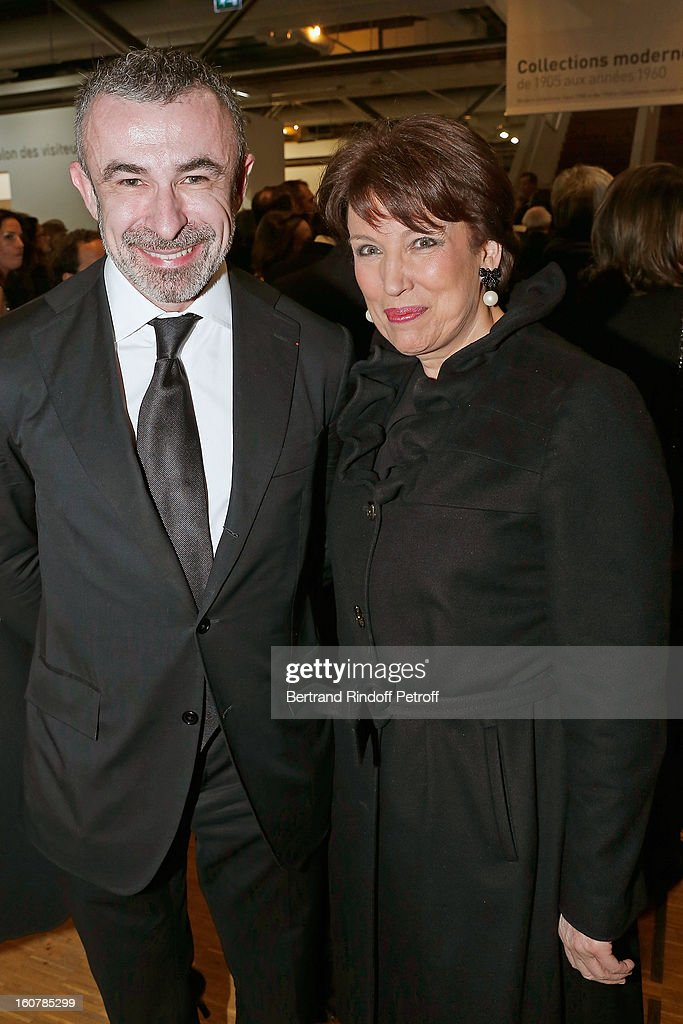 Alain Seban, President of the Centre Pompidou Museum (L), and Roselyne Bachelot Narquin attend the 8th Annual Dinner of the 'Societe Des Amis Du Musee D'Art Moderne' at Centre Pompidou on February 5, 2013 in Paris, France.