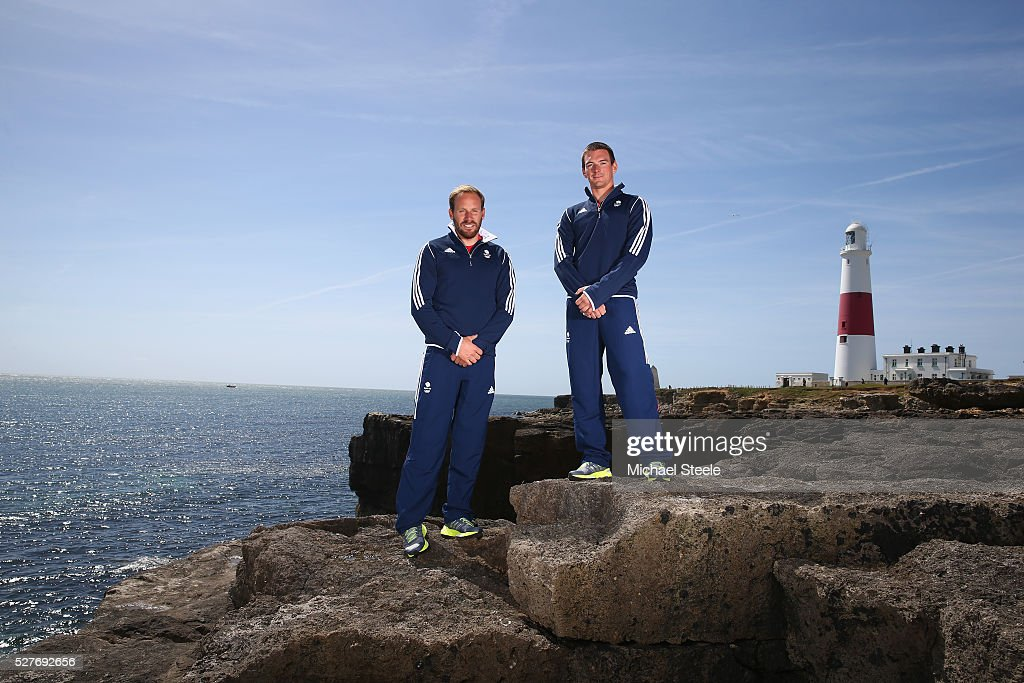 Alain Sign (L) and Dylan Fletcher (49er Class) of Team GB pose during a Team GB Sailing Announcement for the Rio 2016 Olympic Games at Portland Bill on May 3, 2016 in Weymouth, England.