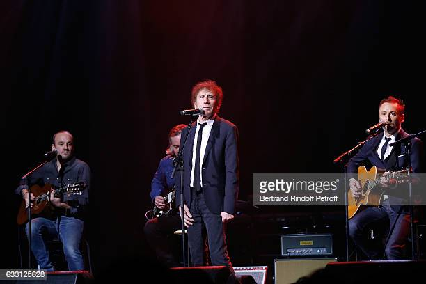 Alain Souchon his sons Show Designer Pierre Souchon and Charles 'Ours' Souchon perform during the Charity Gala against Alzheimer's disease at Salle...