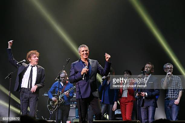 Alain Souchon Julien Clerc Jeanne Cherhal Designer of the show Pierre Souchon and Vincent Delerm perform during the Charity Gala against Alzheimer's...