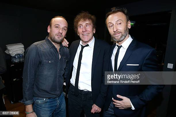 Alain Souchon with his sons Pierre Souchon and Charles 'Ours' Souchon attend the Charity Gala against Alzheimer's disease at Salle Pleyel on January...