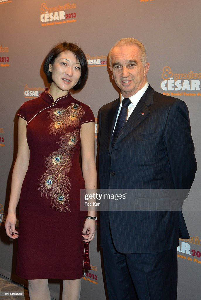 Alain Terzian (R) and a guest attend the Producer's Dinner - Cesar Film Awards 2013 at Georges V on February 18, 2013 in Paris, France.