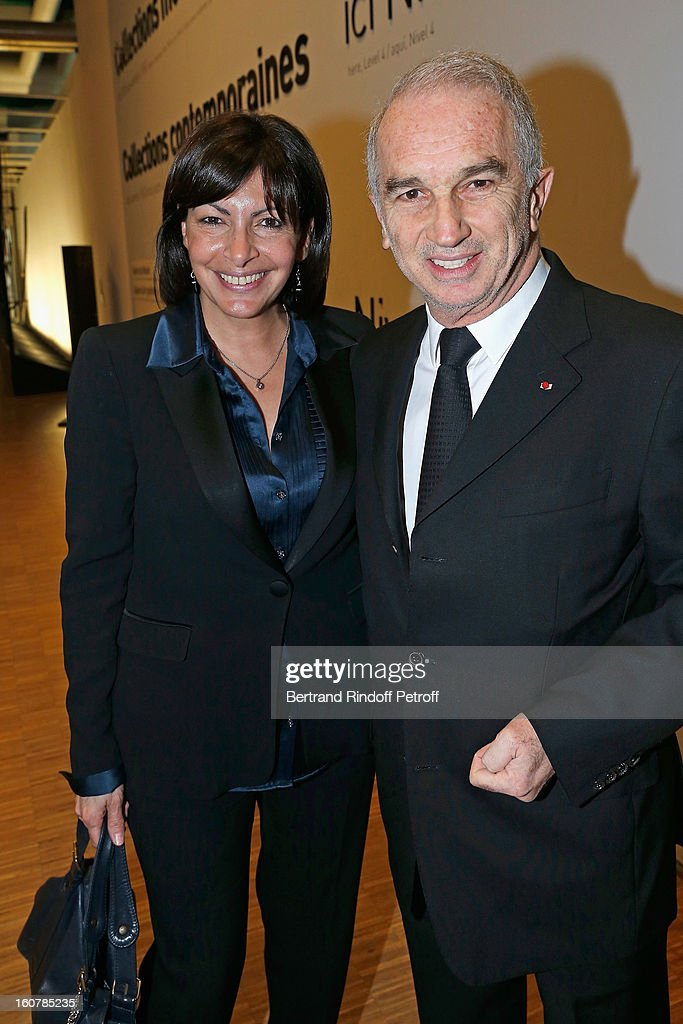 Alain Terzian (R) and Anne Hidalgo attend the 8th Annual Dinner of the 'Societe Des Amis Du Musee D'Art Moderne' at Centre Pompidou on February 5, 2013 in Paris, France.