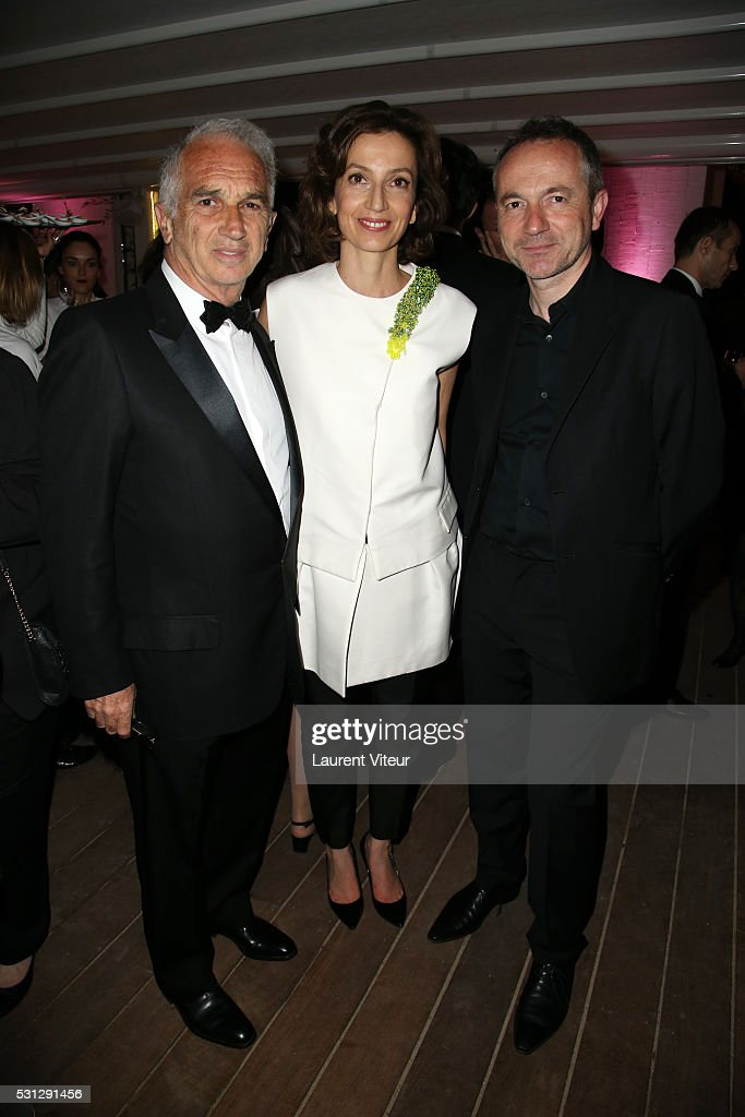 <a gi-track='captionPersonalityLinkClicked' href=/galleries/search?phrase=Alain+Terzian&family=editorial&specificpeople=2455092 ng-click='$event.stopPropagation()'>Alain Terzian</a>, Audrey Azoulay and a guest attend the <a gi-track='captionPersonalityLinkClicked' href=/galleries/search?phrase=Alain+Terzian&family=editorial&specificpeople=2455092 ng-click='$event.stopPropagation()'>Alain Terzian</a> Dinner At the Petit Paris Beach at the annual 69th Cannes Film Festival at P on May 12, 2016 in Cannes, France.