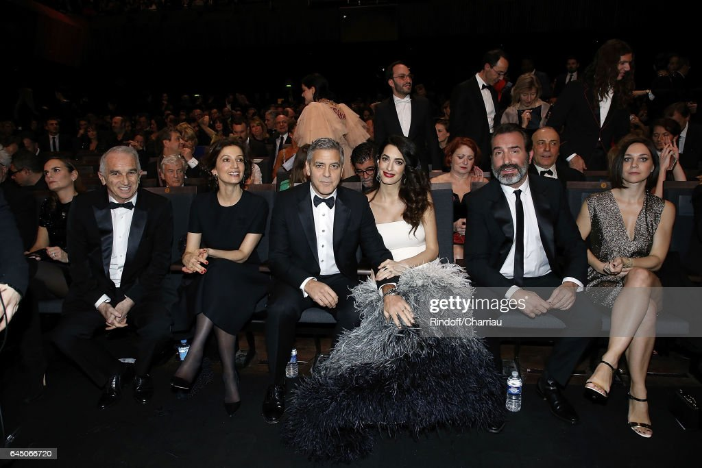 Alain Terzian, Audrey Azoulay, George Clooney, Amal Clooney, Jean Dujardin and Nathalie Pechalat attend Cesar Film Award 2017 at Salle Pleyel on February 24, 2017 in Paris, France.