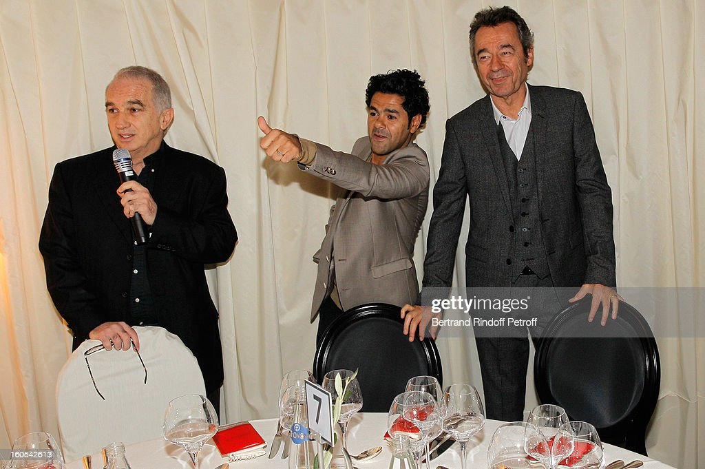 Alain Terzian, Jamel Debouze and <a gi-track='captionPersonalityLinkClicked' href=/galleries/search?phrase=Michel+Denisot&family=editorial&specificpeople=753821 ng-click='$event.stopPropagation()'>Michel Denisot</a> attend the Cesar 2013 nominne lunch at Le Fouquet's on February 2, 2013 in Paris, France.