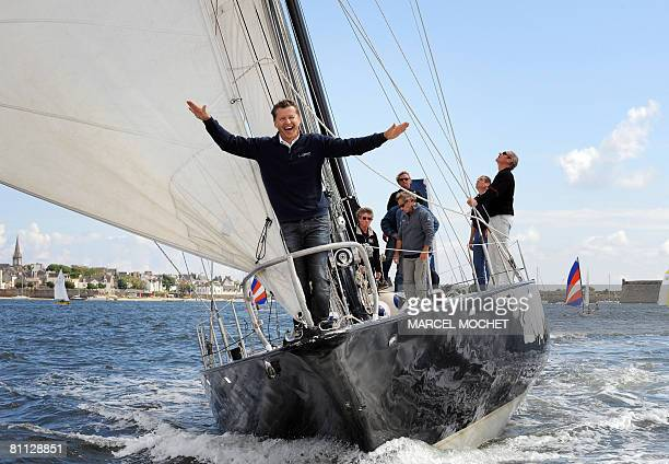 Alain Thebaud former teammate of French sailing legend late Eric Tabarly and designer of 'flying boat' Hydroptere poses aboard Tabarly's monohull...