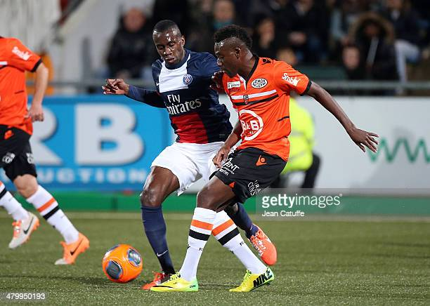 Alain Traore of Lorient and Blaise Matuidi of PSG in action during the french Ligue 1 match between FC Lorient and Paris SaintGermain FC at Stade du...
